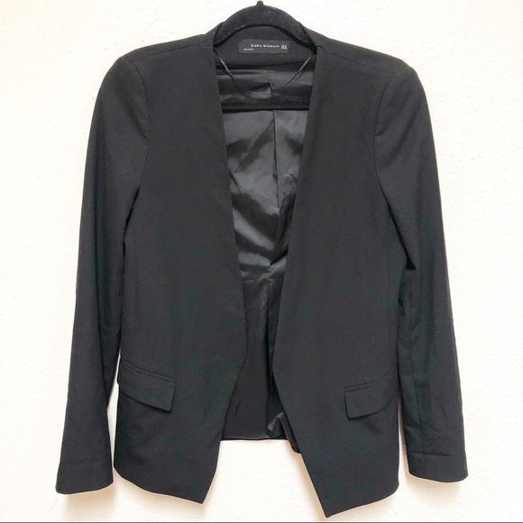 Zara Jackets & Blazers - Zara Black Fitted Open-front Sleek Blazer